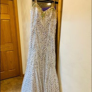 Beautiful white sequined prom gown